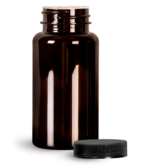 Plastic Laboratory Bottles, 150cc Dark Amber PET Wide Mouth Packer Bottles w/ Black Ribbed Induction Lined Caps