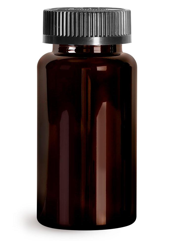 Plastic Laboratory Bottles, 150cc Dark Amber PET Wide Mouth Packer Bottles w/ Black Child Resistant Caps