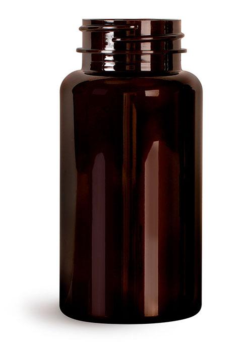Plastic Laboratory Bottles, 150cc Dark Amber PET Wide Mouth Packer Bottles, (Bulk) Caps Not Included