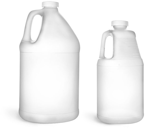 64 oz  Laboratory Plastic Bottles, Natural HDPE Round Handle Jugs w/ White Ribbed Caps