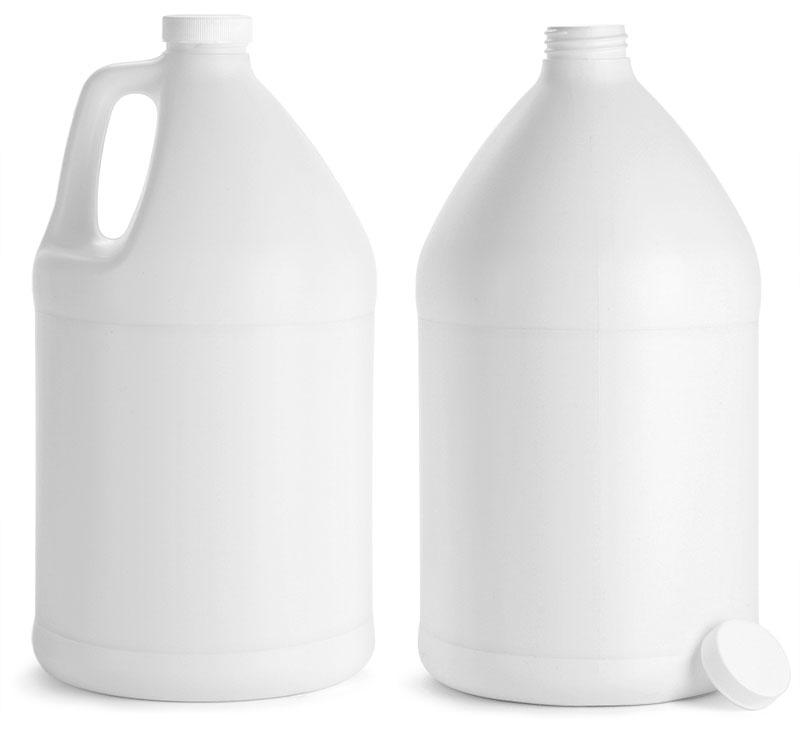 White HDPE Jugs w/ White Ribbed Caps