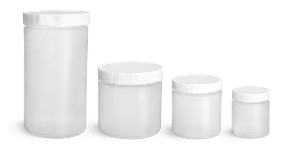 Plastic Lab Jars, Natural HDPE Straight Sided Jars w/ Caps
