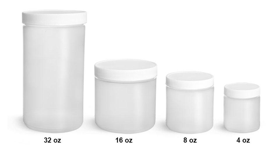 Plastic Laboratory Jars, Natural HDPE Straight Sided Jars w/ Lined Screw Caps