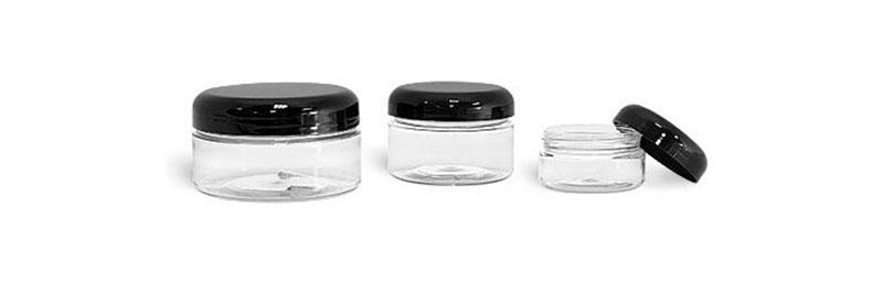 Plastic Lab Jars,Clear PET Jars w/ Black Dome Caps