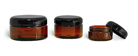 Plastic Laboratory Jars, Amber PET Heavy Wall Jars with Lined Black Dome Caps