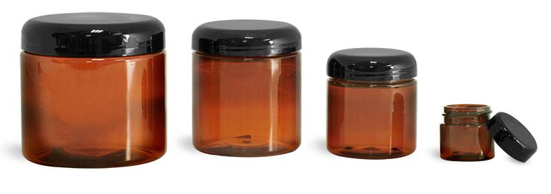 Plastic Lab Jars Amber PET Jars w/ Caps