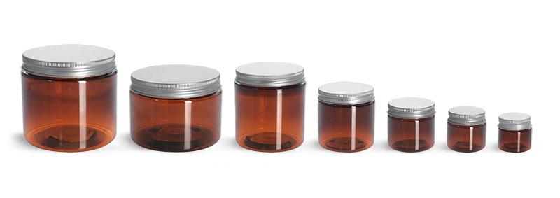 Plastic Lab Jars, Amber PET Jars w/ Lined Aluminum Caps