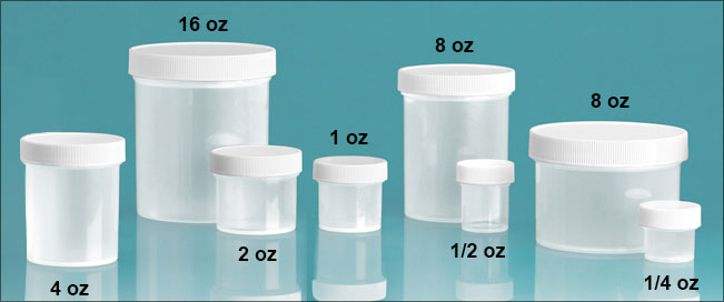 Plastic Laboratory Jars, Natural Polypropylene with Unlined Screw Caps