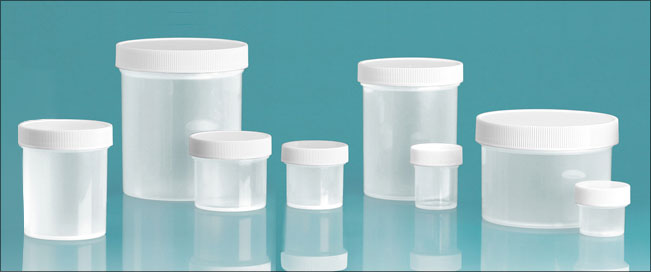 Plastic Lab Jars, Natural Polypropylene Jars w/ Caps