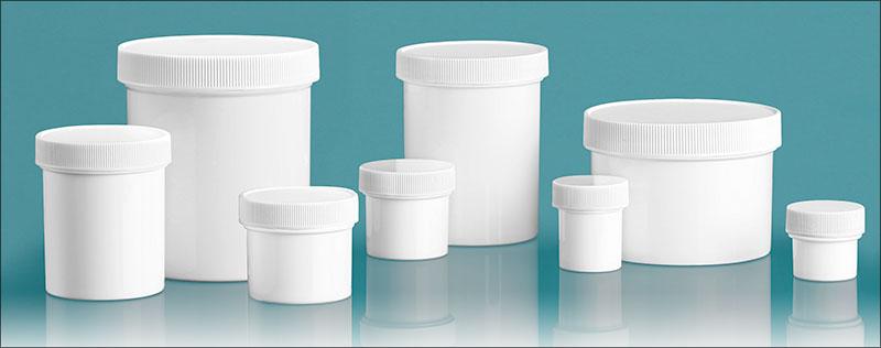 Plastic Lab Jars, White Polypropylene Jars w/ Caps