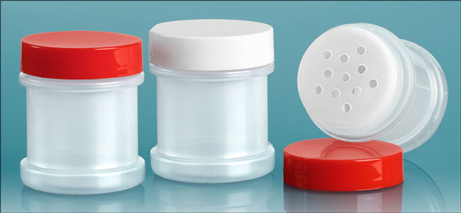 Plastic Laboratory Jars, Natural Jars with Sifters and Unlined Caps