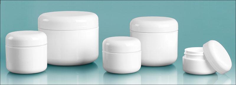Plastic Lab Jars, White Double Wall Radius Jars w/ White Caps