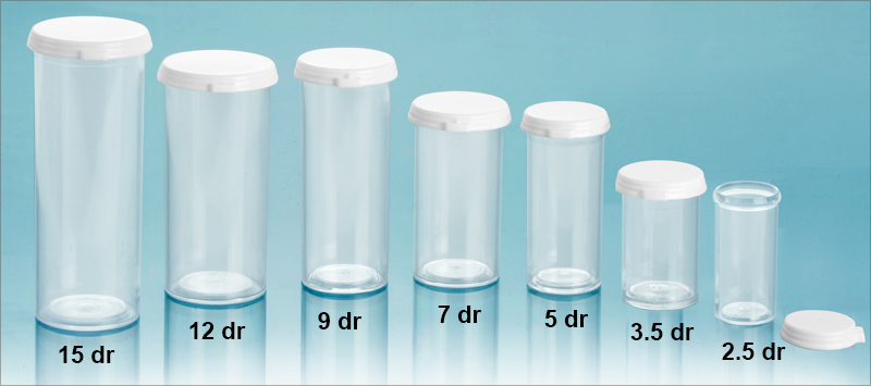 Plastic Vials, Clear Styrene Vials with Snap Caps