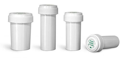 Plastic Lab Vials, White Polypropylene Reversible Cap Vials