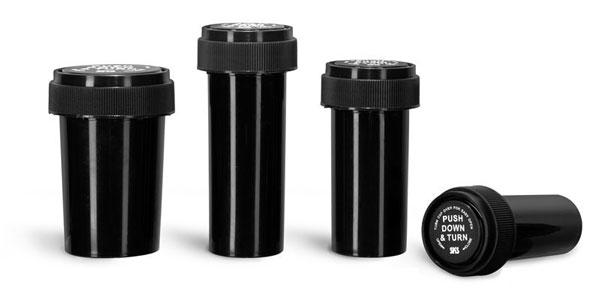 Plastic Lab Vials, Black Polypropylene Reversible Cap Vials
