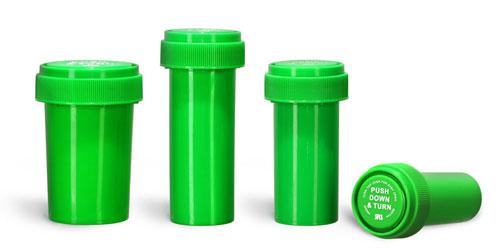 Plastic Lab Vials, Green Polypropylene Reversible Cap Vials