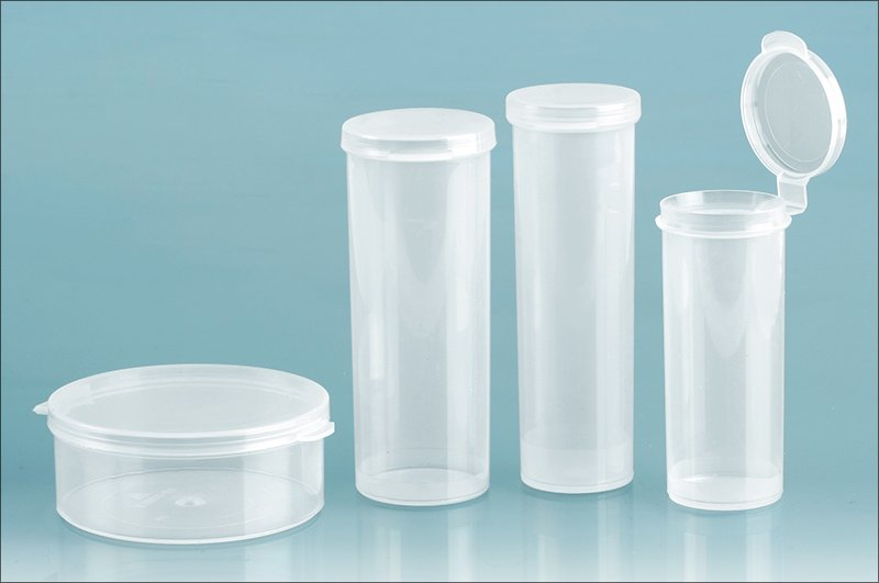 Plastic Lab Vials, Natural Round Hinge Top Lab Vials