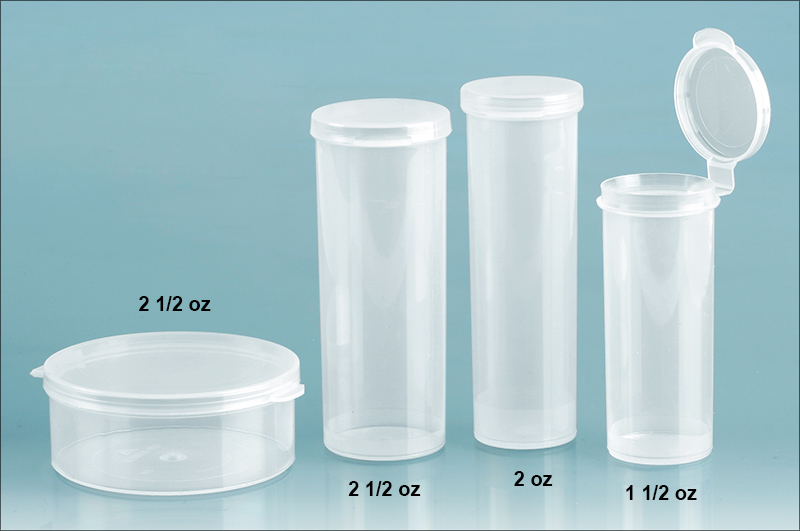 Plastic Lab Vials, Natural Round Hinge Top Lab Vials