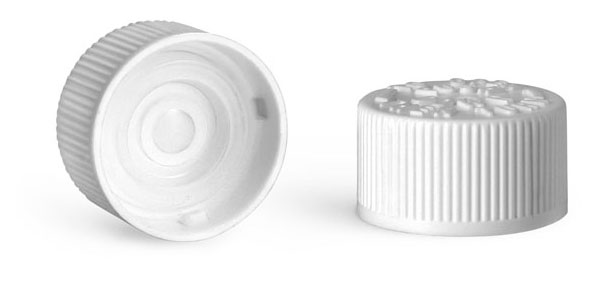 Plastic Caps, White Polypropylene Child Resistant Caps w/ LDPE Plug Liners For Purse Pak Vials