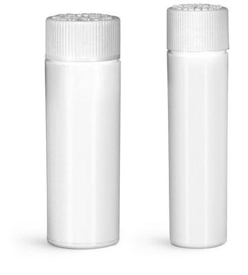 Plastic Lab Vials, White Purse Pak Vials w/ White Child Resistant Caps and Plug Liners