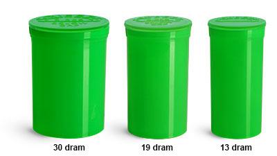 Plastic Lab Vials, Green Polypropylene Pop Top Child Resistant Lab Vials