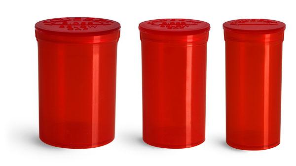 Plastic Lab Vials, Red Polypropylene Pop Top Child Resistant Lab Vials