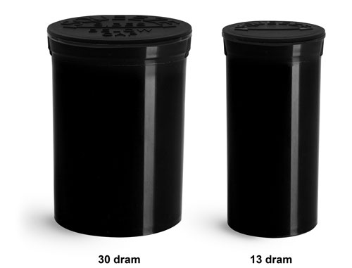 Plastic Lab Vials, Black Polypropylene Pop Top Child Resistant Lab Vials
