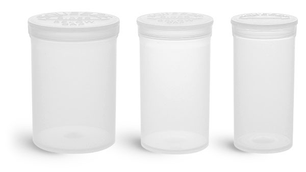 30 Dram  Plastic Vials, Natural Polypropylene Pop Top Vials