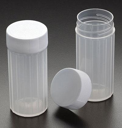 Plastic Vials, 20 ml Natural PP Scintillation Vials w/ White Screw Caps