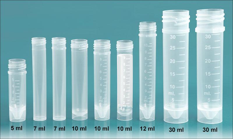 Vials,Transport Tubes, Natural PP Self-Standing Transport Tubes