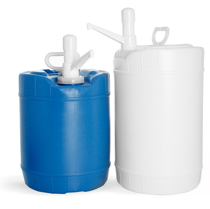 HDPE Plastic Round Drums w/ Dispensing Pumps