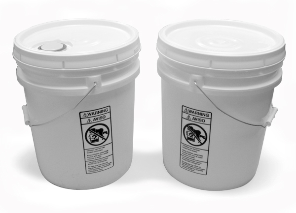 White Plastic Pail w/ Cover and Handle