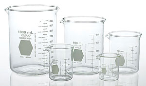 low form glass beakers