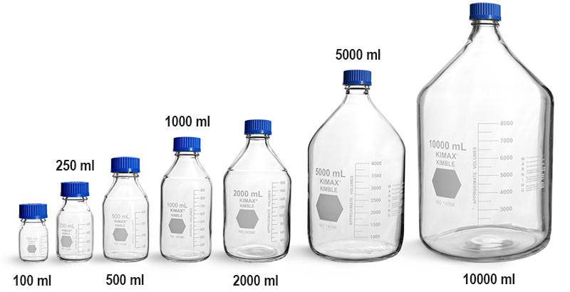 Lab Bottles, Media Bottles, Clear Glass Media Bottles w/ Blue Caps