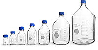 Lab Bottles, Media Bottles, Glass Safety Coated Media Bottles w/ Blue Caps