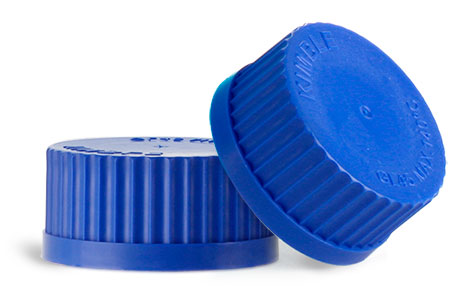 GL 45 Blue PP Caps for Glass Media Bottles w/ Internal Molded Seal Rings