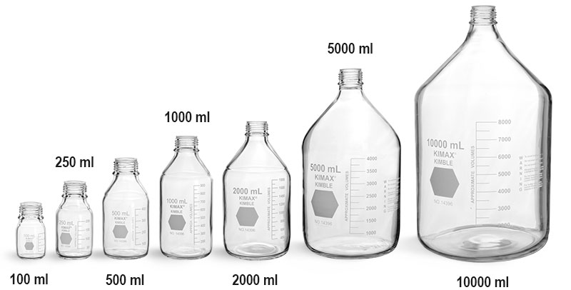 Lab Bottles, Media Bottles, Clear Glass Media Bottles, Caps NOT Included