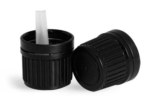 Black Plastic Tamper Evident Caps with Orifice Reducers