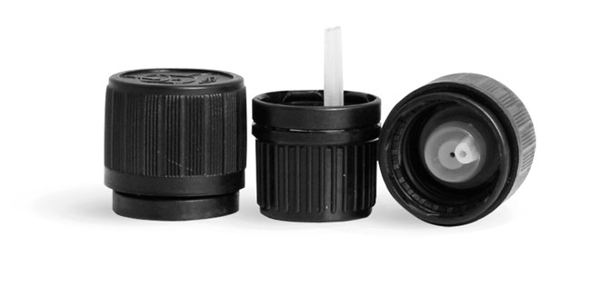 "Black HDPE Child Resistant ""Universal Picture"" Caps With Orifice Reducers"
