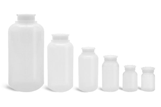 Laboratory Plastic Bottles, Natural LDPE Wide Mouth Leak Proof Water Bottles w/ Plug Seal Caps