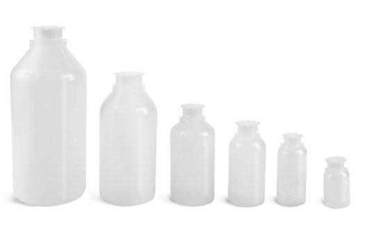 Laboratory Plastic Bottles, Natural LDPE Narrow Mouth Leak Proof Water Bottles w/ Plug Seal Caps