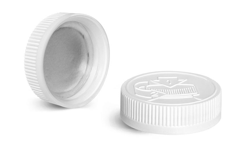 Plastic Caps, White Induction Lined Child Resistant Caps w/ Universal Picture