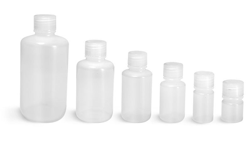 Lab Bottles, Leak Proof, Natural LDPE Narrow Mouth Water Bottles w/ Plastic Caps