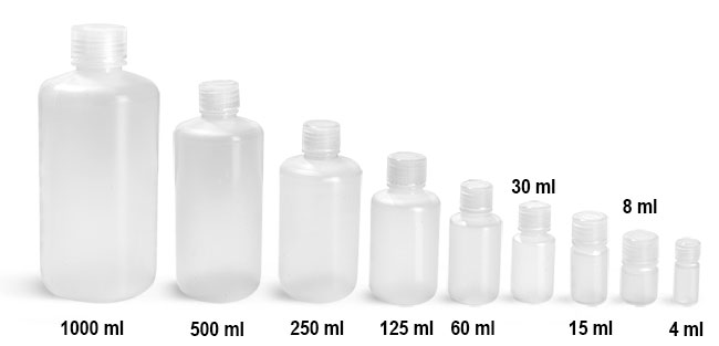 Lab Bottles, Leak Proof, Natural Polypropylene Narrow Mouth Water Bottles w/ Plastic Caps