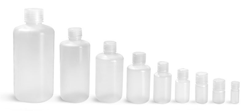 4 ml  Lab Bottles, Leak Proof, Natural Polypropylene Narrow Mouth Water Bottles w/ Plastic Caps