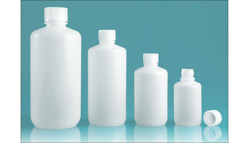 125 ml  Lab Bottles, Leak Proof, Natural Polypropylene Narrow Mouth Water Bottles w/ Plastic Caps