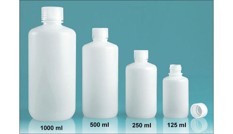 Lab Bottles, Leak Proof, Natural Polypropylene Narrow Mouth Water Bottles w/ Plastic Caps