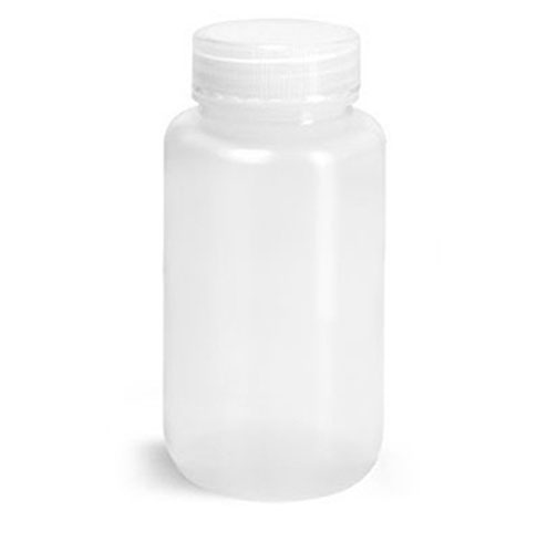 Lab Bottles, Leak Proof, Natural LDPE Wide Mouth Water Bottles w/ Plastic Caps