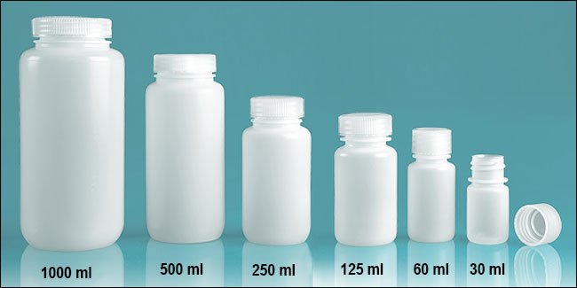 Plastic Laboratory Bottles, Natural HDPE Leak Proof Wide Mouth Water Bottles w/ Screwcaps