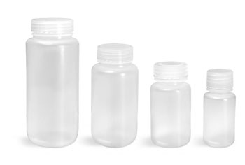 Lab Bottles, Leak Proof, Natural Polypro Wide Mouth Water Bottles w/ Plastic Caps